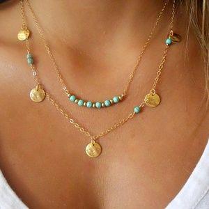 Jewelry - Kingman Turquoise Beaded Boho Indie Gold Necklace